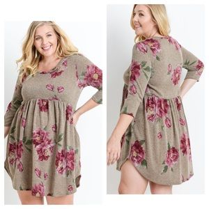 Dresses & Skirts - Floral Print Babydoll Long Sleeve Dress